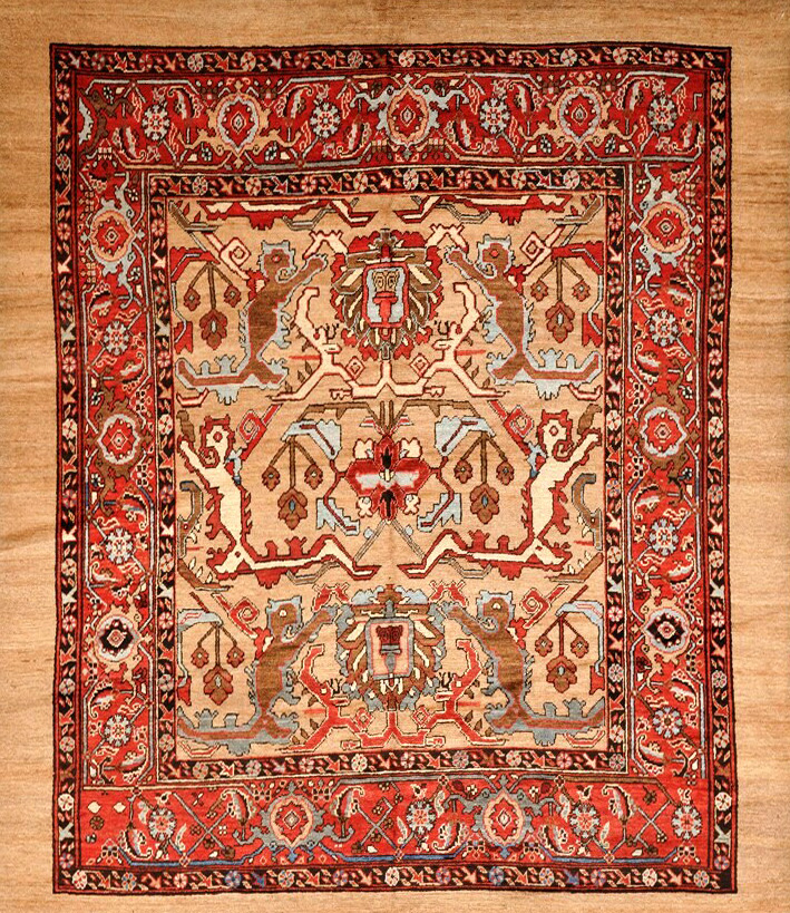 Vintage Mexican Zapotec Rug In Small Size With Stylized: Antique Bakshaish Rug- 121101 - First Rugs